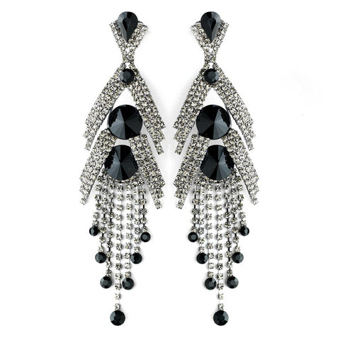 Black, Chandelier, Crystals, Earrings, Jewelry, Marquise, Rhinestones, Silver