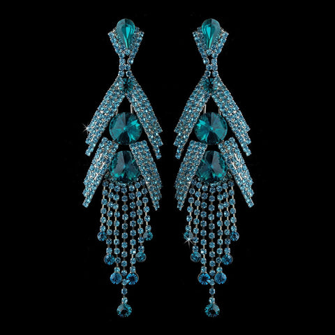 Blue, Chandelier, Crystals, Earrings, Jewelry, Marquise, Rhinestones, Silver, Teal