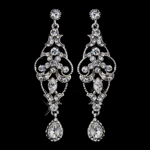 Chandelier, Clear, Earrings, Jewelry, Marquise, Rhinestones, Silver