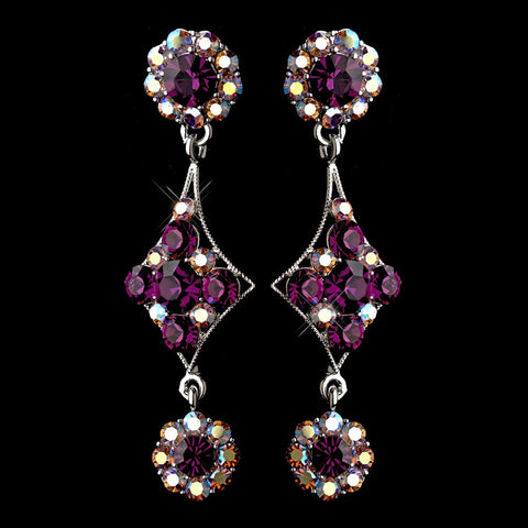 Amethyst, Dangle, Earrings, Jewelry, Purple, Rhinestones, Silver