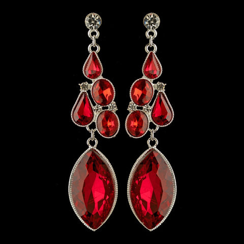Crystals, Dangle, Earrings, Jewelry, Oval, Pear, Red, Rhinestones, Silver