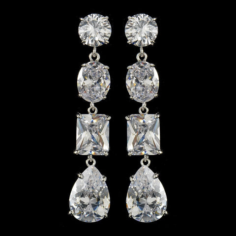 Clear, Crystals, Cubic Zirconias, Dangle, Earrings, Jewelry, Pear, Radiant, Rhodium