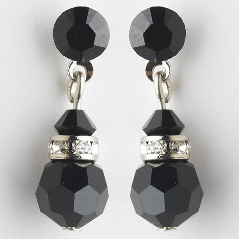 Black, Crystals, Drop, Earrings, Jewelry, Rhinestones, Silver, Swarovski Crystal Beads