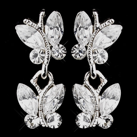 Butterfly, Clear, Drop, Earrings, Jewelry, Marquise, Rhinestones, Silver