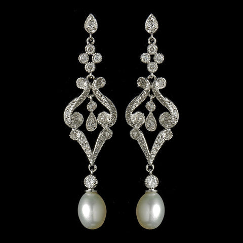 Crystals, Cubic Zirconias, Dangle, Diamond White, Earrings, Freshwater Pearls, Jewelry, Pearls, Rhodium