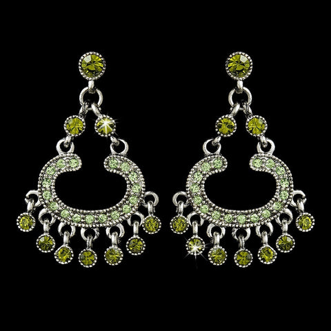 Chandelier, Earrings, Green, Jewelry, Olive, Rhinestones, Silver
