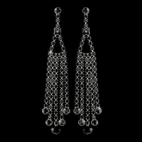 Black, Chandelier, Earrings, Jewelry, Rhinestones, Sale, Silver