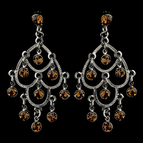 Brown, Chandelier, Earrings, Jewelry, Rhinestones, Sale, Silver