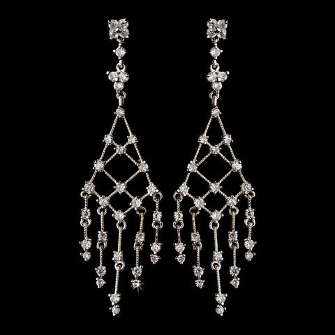 Chandelier, Clear, Crystals, Cubic Zirconias, Earrings, Jewelry, Rhodium
