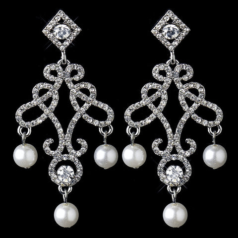 Chandelier, Earrings, Faux Pearls, Ivory, Jewelry, Pearls, Rhinestones, Rhodium