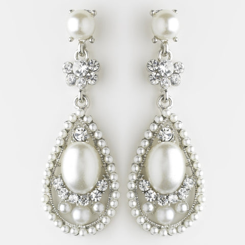 Diamond White, Drop, Earrings, Faux Pearls, Jewelry, Pearls, Rhinestones, Rhodium