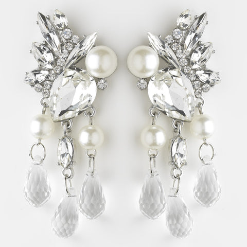 Chandelier, Crystals, David Tutera for Mon Cheri, Diamond White, Earrings, Faux Pearls, Jewelry, Marquise, Pear, Pearls, Rhinestones, Rhodium