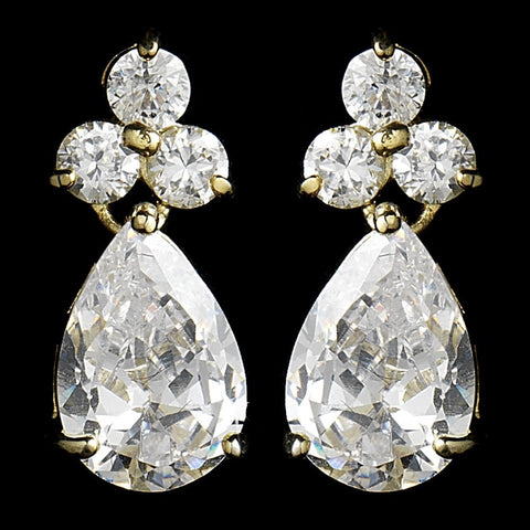 Clear, Crystals, Cubic Zirconias, Drop, Earrings, Gold, Jewelry, Pear, Rhodium