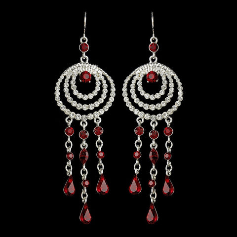 Chandelier, Earrings, Jewelry, Pear, Red, Rhinestones, Silver