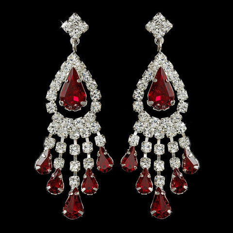 Burgundy, Chandelier, Earrings, Jewelry, Pear, Red, Rhinestones, Silver