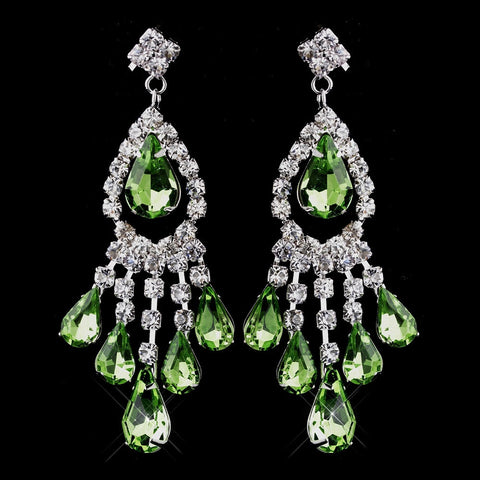 Chandelier, Earrings, Green, Jewelry, Pear, Peridot, Rhinestones, Silver