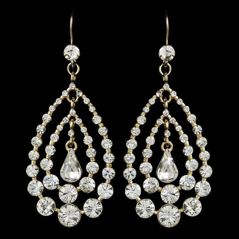 Chandelier, Clear, Earrings, Gold, Jewelry, Pear, Rhinestones