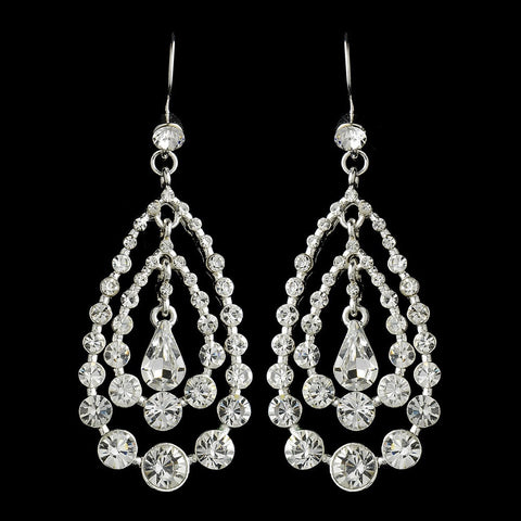 Chandelier, Clear, Earrings, Jewelry, Pear, Rhinestones, Silver