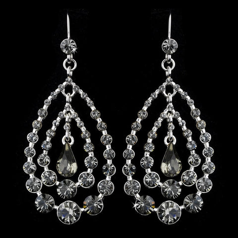 Chandelier, Earrings, Jewelry, Pear, Rhinestones, Silver, Smoke