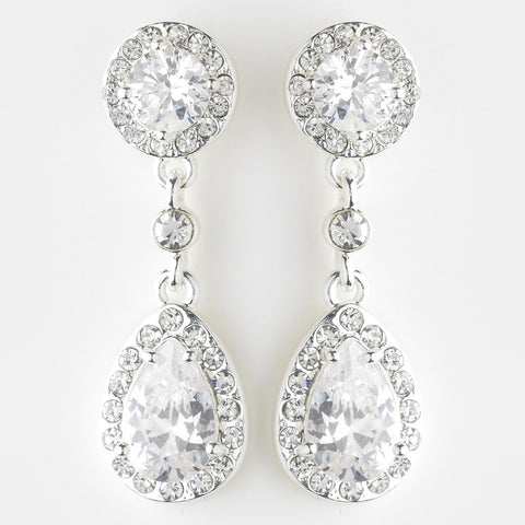 Clear, Clip-On, Crystals, Cubic Zirconias, Drop, Earrings, Jewelry, Rhinestones, Silver