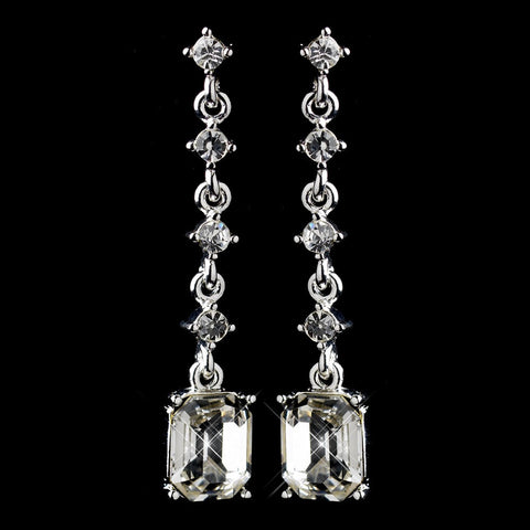 Clear, Crystals, Dangle, Earrings, Emerald, Jewelry, Rhinestones, Silver