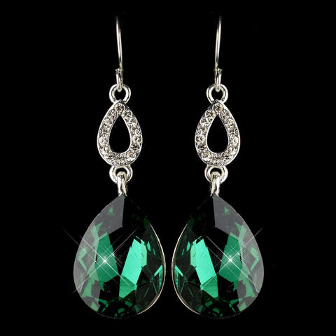Crystals, Cubic Zirconias, Drop, Earrings, Emerald, Green, Jewelry, Pear, Rhinestones, Silver