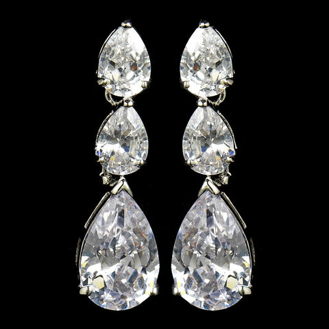Clear, Crystals, Cubic Zirconias, Dangle, Earrings, Jewelry, Pear, Rhodium