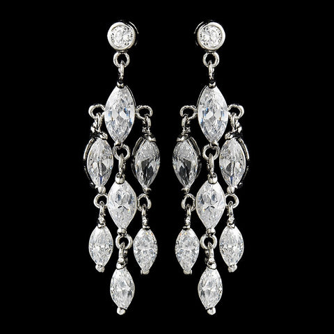 Chandelier, Clear, Crystals, Cubic Zirconias, Earrings, Jewelry, Marquise, Rhodium