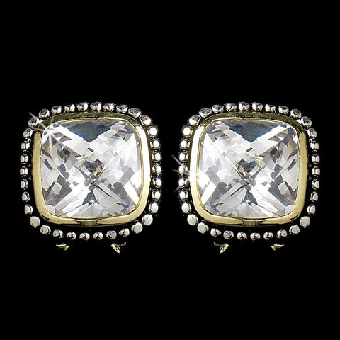 Circle, Clear, Crystals, Cubic Zirconias, Cushion, Earrings, Gold, Jewelry, Silver, Silver & Gold, Stud
