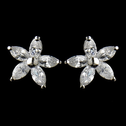 Clear, Crystals, Cubic Zirconias, Earrings, Jewelry, Marquise, Rhodium, Stud