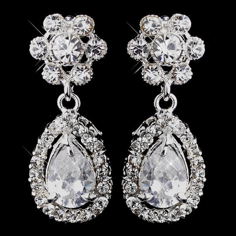 Clear, Crystals, Cubic Zirconias, Drop, Earrings, Jewelry, Pear, Silver