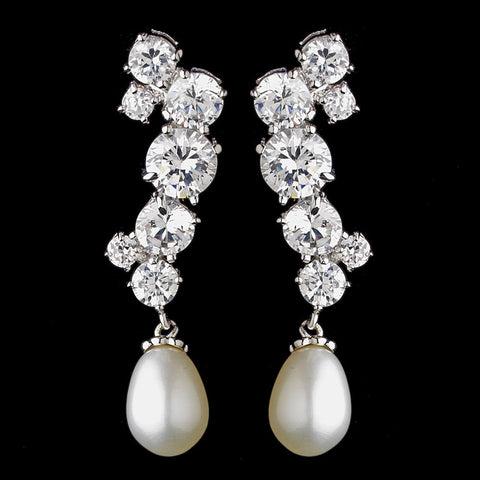 Crystals, Cubic Zirconias, Dangle, Earrings, Freshwater Pearls, Ivory, Jewelry, Pearls, Rhodium