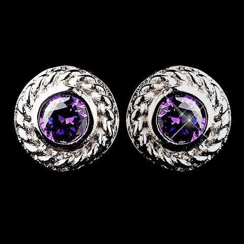 Amethyst, Circle, Crystals, Cubic Zirconias, Earrings, Jewelry, Purple, Rhodium, Stud