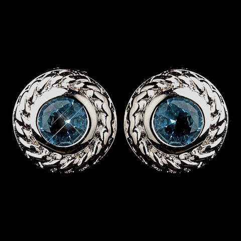 Aqua, Blue, Circle, Crystals, Cubic Zirconias, Earrings, Jewelry, Rhodium, Stud