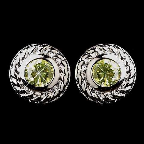 Circle, Crystals, Cubic Zirconias, Earrings, Green, Jewelry, Peridot, Rhodium, Stud