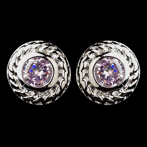 Circle, Crystals, Cubic Zirconias, Earrings, Jewelry, Pink, Rhodium, Stud