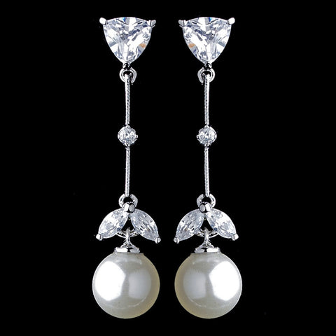 Crystals, Cubic Zirconias, Diamond White, Drop, Earrings, Faux Pearls, Jewelry, Marquise, Pearls, Rhodium, Trillion