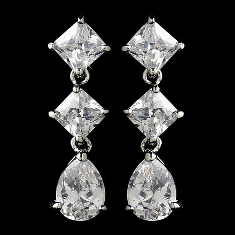 Clear, Crystals, Cubic Zirconias, Drop, Earrings, Jewelry, Pear, Princess, Rhodium