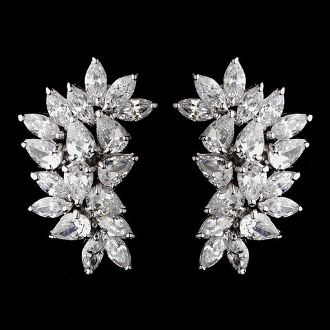 Clear, Clip-On, Crystals, Cubic Zirconias, Earrings, Jewelry, Marquise, Pear, Rhodium, Stud