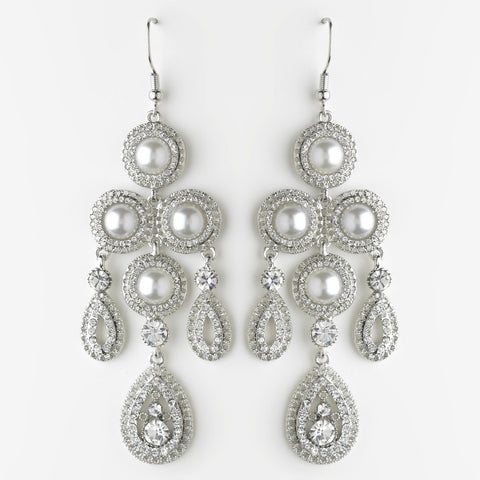 Chandelier, Earrings, Faux Pearls, Jewelry, Pearls, Rhinestones, Rhodium, White