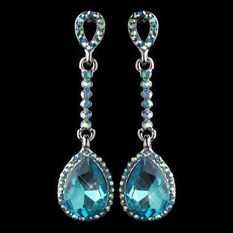 Aqua, Blue, Crystals, Dangle, Earrings, Jewelry, Pear, Rhinestones, Rhodium
