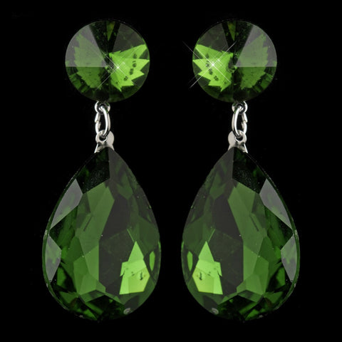 Crystals, Drop, Earrings, Emerald, Green, Jewelry, Pear, Rhodium