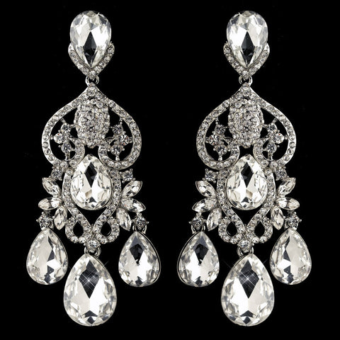Chandelier, Clear, Earrings, Jewelry, Marquise, Pear, Rhinestones, Rhodium