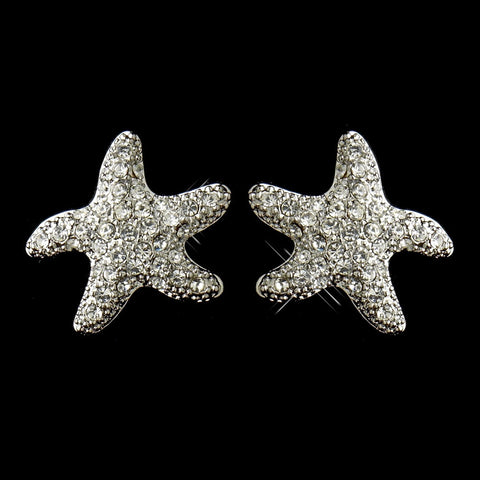 Beach, Clear, Earrings, Jewelry, Rhinestones, Rhodium, Starfish, Stud