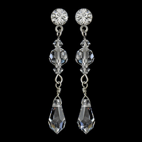 Clear, Crystals, Dangle, Earrings, Jewelry, Rhinestones, Silver, Swarovski Crystal Beads