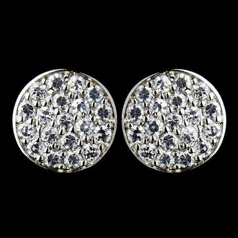 Circle, Clear, Crystals, Cubic Zirconias, Earrings, Jewelry, Rhodium, Stud