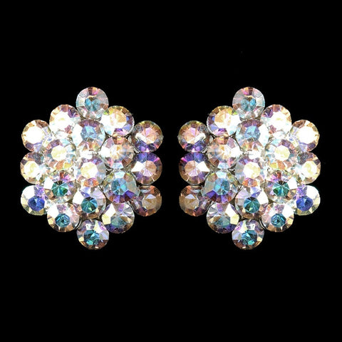 AB, Clip-On, Earrings, Jewelry, Rhinestones, Silver, Stud