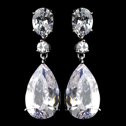 Clear, Crystals, Cubic Zirconias, Drop, Earrings, Jewelry, Oval, Pear, Rhodium