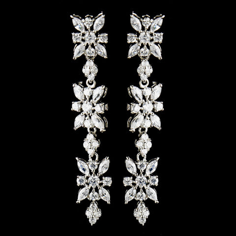 Clear, Crystals, Cubic Zirconias, Dangle, Earrings, Jewelry, Marquise, Rhodium