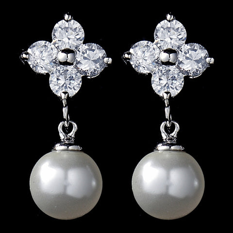 Crystals, Cubic Zirconias, Drop, Earrings, Faux Pearls, Jewelry, Pearls, Rhodium, White